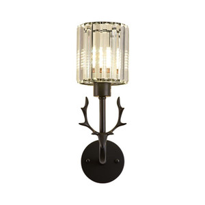 American Simple LED Lâmpada de Parede Sala de estar Quarto Aisle Cristal Luz Luminária Preto / Gold Creative Antlers Aluminum Wall Sconce