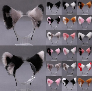 22 Colors Women Realistic Long Furry Animal Cat Ears Headband Cute Anime Hair Hoop Festival Party Headpiece Cosplay Costume Accessories