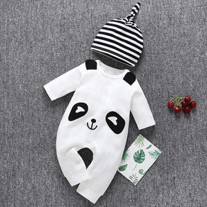 Boys girls baby onesies cute bear clothes one-piece clothes with hat white clothes free shipping