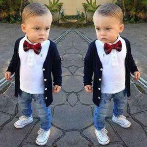 New Autumn Children Clothing Set Cardigan+T-shir+Jeans 3pcs Boys Clothing Set Baby Suit