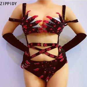 Red Black Rhinestones Hand Finger Pattern Velvet Bodysuit Gloves Women Dancer Bar Show Wear Bandage Bikini Outfit Set