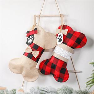Año Nuevo medias de Navidad Buffalo a cuadros grandes de forma de hueso para perros mascotas que almacena las decoraciones de Navidad Regalo bolsa JK2011XB