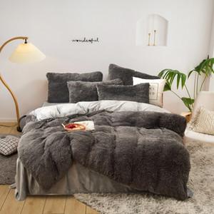 Четырех частей теплых плюшевых постельных принадлежностей King Queen Size роскошные одеяло Крышка подушка для одежды Крышка Крышка Корпус Brand Bed Устройства Устанавливает высокое качество
