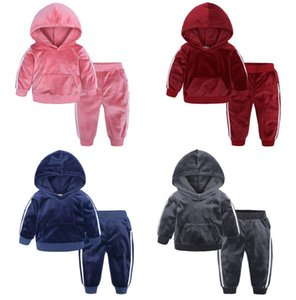 kids boys winter clothing set children's sports leisure two piece set solid color toddler warm clothes