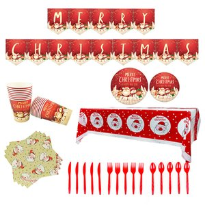Christmas Decorations Theme Party Supplies Santa Claus Pattern Paper Cups Paper Plates Tablecloths Pull Flag Balloon Decoration Set DHA1578