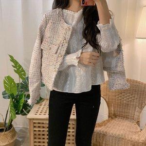 2020 nouveau manteau printemps femmes tweed veste haute qualité petit parfum patchwork veste femme coréenne tweed courte élégant automne q4 j0112