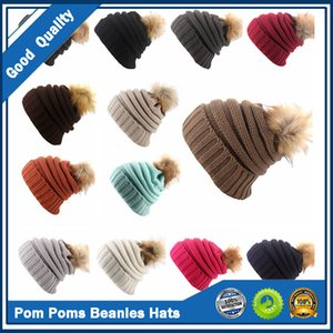 Unisex Pom Poms Beanies Hats Women Girl Fashion Solid Winter Knitted Hats Outdoor Ponytail Beanie Pompom Hat Classic Knit Cross Cap