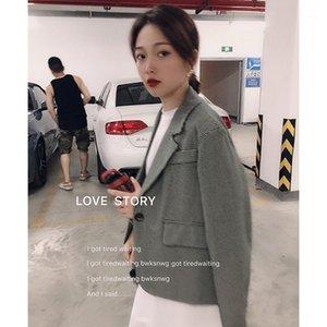 HXJJP Весна 2020 Новый костюм Blazers Женская корейская версия рыхлой ретро сетки костюма женской одежды1
