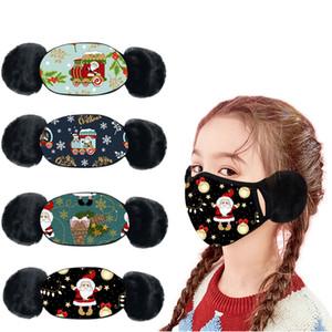 Çocuk Noel Maskesi Baskılar Earmuff Artı Kız Yumuşak Kış Muff Wrap Maske Kulak Isıtıcı Earlap Peluş Sürme Açık Maske
