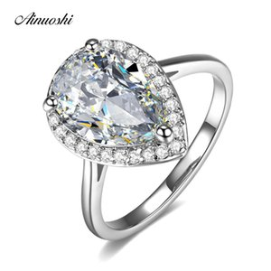 AINUOSHI Teardrop Halo Pear Cut 4 Carats Rings 925 Sterling Silver Women Engagement Bridal Ring Wedding Anniversary Jewelry Y200106
