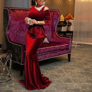 Retro Red Velvet Mermaid Long Dress Women Plus Size Dinner Evening Elegant Ladies Bodycon Peplum Ruffle Vintage Maxi Party Dress 0930