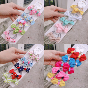 set 1 New Cute Ribbon Flowers Scrunchies Children Girls Kids Elastic Hair Rubber Band Accessories Tie Hair Ring Rope Holder