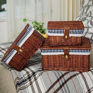 الإبداعية الخيزران المنسوجة سلة تخزين مع غطاء مع قفل تخزين الملابس أشتات لعبة تخزين مربع منظم الخوص المواد-66819 T200415