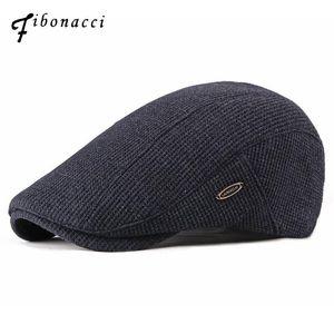 Fibonacci 2020 neue Art und Weise der Männer Ballonmützen Knitting Plus Velvet Beret Hüte für Männer Herbst-Winter-Wohnung Vati-Hut