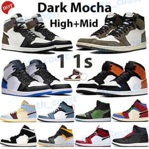 New 1 1s scarpe da basket jumpman alta scure moka Travis Scotts sneakers Chicago UNC bianco Palestra rosso arancio laser in bianco allevato mens punta formatori