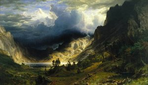 Albert Bierstadt A Storm in the Rocky Mountains Home Decor Handpainted &HD Print Oil Painting On Canvas Wall Art Canvas Pictures 201024