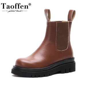 TAOFFEN Real Leather Women Ankle Boots Trifle Flats Slip On Shoes Round Toe Winter Warm Boots Fashion Women Footwear Size 34-39