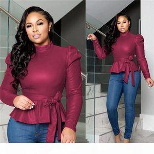 Dropshipping Womens Designer Tshirt With Belt Fashion Long Sleeve Casual Clothing Womens Brief Solid Colors Tshirts