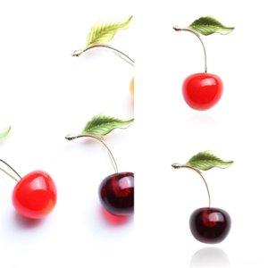 QJPHQ FAS CherryHion Paon Broche de Noël Pin Petite Frais De Noël Arbre Femmes Antique Or Argent Broche Cherry Cherry Pins Red Green