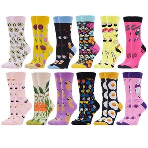 SANZETTI 12 Pairs Women Socks Combed Cotton Colorful Fun Happy Cute Sushi Fashion Flowers Pattern Wedding Dress Popular Socks 201012