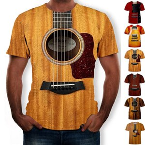 Mens 3d Guitar Printed Fashion Sleeves T Shirt Daily Short Sleeve Tee Tshirt Female Psychedelic Clothes 2020 New Y200722