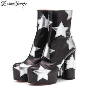 Buono Scarpe Plateforme Femmes Bottines Bottes Courtes Botas Fenimina Fashion Bottes De Mode Prom High Heel Chunky 20191