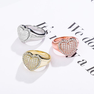 JINAO Hip Hop Fashion Love Ring Copper Gold Silver Color Iced Out Micro Pave Cubic Zircon Charm Ring for Men Women Gift