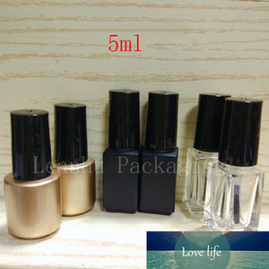 Empty Nail Polish Glass Container With Brush 5ml Small Square Round Glass Bottle For Nail Polish Oil Glue Glass Vial Gold Black