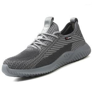 Manlegu Safety Shoes Hombres Construcción Zapatos de trabajo Transpirable Air Malla de trabajo Botas de punta de acero TOE CABA INDESTRUCTUBLE Sneakers1