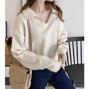 ZHISILAO Nuevo suéter del suéter de las mujeres con cuello en V manga larga sólido suéter de punto de gran tamaño otoño invierno 2020 de la vendimia caliente
