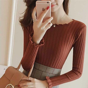 Sexy Word neck Sweater Women Lace Pullover Stretch Bottoming Knitted Sweaters Female 2020 Spring Autumn Long sleeved Flowers