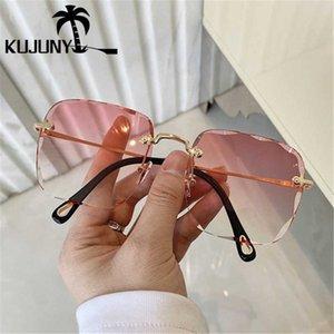Çerçevesiz Poligon Güneş Gözlüğü Gölge Kadın Güneş Gözlük Tapınak Gözlük Çerçevesiz Kare Gözlükler Metal Güneş Anti-Uv Goemi için