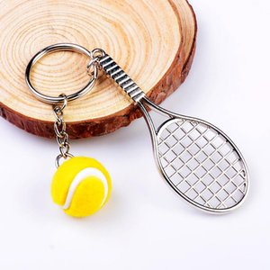 FREE shipping100pcs lot 2018 New Hot Novelty Zinc Alloy Tennis Keychains Metal Ball Keyrings for Promotion