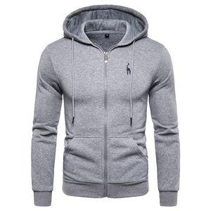 Hoodied New Autumn Winter Fleece 2019 Mens Sweatshirts Zipper Hoody Solid Sportswear Hoodies Thick Cotton Men Unhki