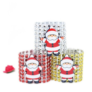 Ring Plastic Napkin Ring Christmas Rhinestone Wrap Santa Claus Chair Buckle Hotel Wedding Supplies Home Table Decoration 3 Color GWE2373