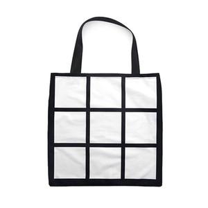 Blank Sublimation Grid-Einkaufstasche Weiß DIY Heat Transfer Sudoku Einkaufstasche Doppelseiten Gridview Reusable-Speicher-Beutel-Handtasche DHL F102001