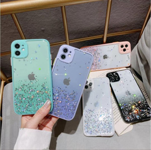 DHL 100pcs Glitter Case for Iphone 11 Pro Max X XS XR 8 7 Plus Gradient Contrast Back Cover For iphone 12 pro max phone case