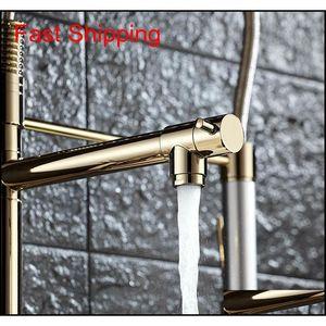 Luxury Gold Color Cucina rubinetto rubinetto Rubinetto Due beccucci girevoli Extensible Spring Mixer Tap Estrarre la cucina Sin Qylqym BDE_luck