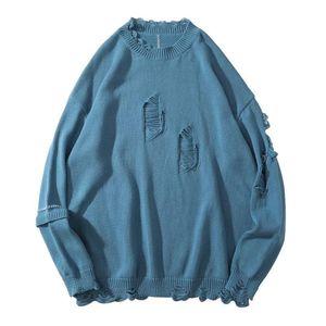 ICPAN HIP HOP CASSAL PUNK ROCK TOP Sweaters déchirés Pull tricoté en détresse Destruction destruct Tricots détruits Streetwear