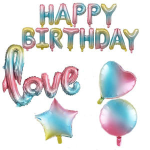 Rainbow Gradient Love Happy Birthday Letter Foil Balloon 32inch Number Balloon Wedding 1st Birthday Party Decor Globos