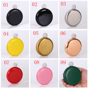Rhinestone Lid Hip Flasks Fashion Stainless Steel Mini Hip Flask Round Wine Pot Creative Portable Wine Bottle OOA10005