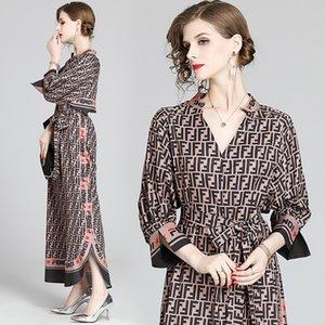Плюс размер свободно новая взлетно-посадочная полоса сексуальные V-образные вырезывающие буквы напечатаны Sash Maxi платья женщины вечеринка ночь элегантные дамы с длинным рукавом повседневные одежды