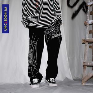 UNCLEDONJM Örümcek nakış Baggy Harem Pantolon Streetwear Erkekler Yaz Hip Hop Casual Pantolon Moda Erkek Pantolon ED933 200930