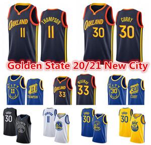 Herren Stephen 30 Curry Jersey Klay 11 Thompson 33 James Wiseman GoldenZustandKrieger2021 City Black Edition Basketball-Trikots