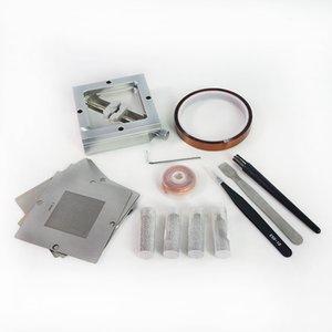 90mm Simli Reballing Jig ile 10 adet Evrensel BGA Şablonlar Lehim Topları ESD Cımbız Fırça Bantlar BGA Rework Kiti