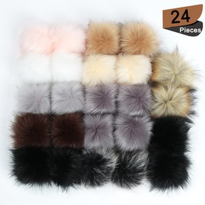 24Pcs DIY Hats Accessories False Hairball Pom Pom Handmade Artificial Ball Faux Rabbit Fur PomPom 201027
