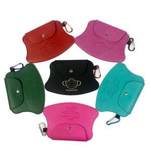 Máscara de sacos de armazenamento PU Leather portátil Máscara Facial bolsa do saco organizador de bolsa Meninas Dustproof Pad armazenamento Holder Clip DDA785
