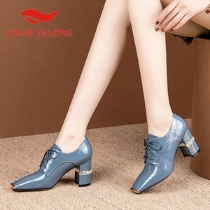 JOUIR TALONS Brand Design Genuine Leather Women Sandals Square Heels Square Toe Metal Decoration Spring Autumn Dress Women Shoes