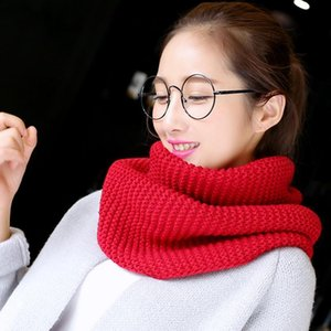 OLOEY Winter Fashion Pure Knitted Ring Scarf Red Women Casual Thicken Warm Ladies Scarves Neck Pipe Streetwear Cover Neck female