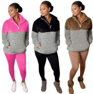 Для женщин Designer 2 шт Брюки Спортивные костюмы Zip Neck Щитовые Спорт Loungewear с длинным рукавом пуловер Тонкий Tops ватки коралла Bodycon Длинные брюки